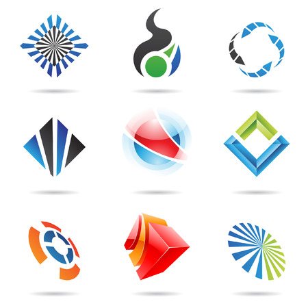 cube: Various colorful abstract icons, set 6 Illustration