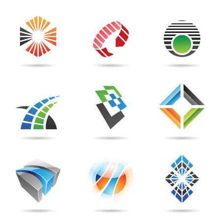 diamante negro: Varios iconos abstractas coloridos, establecer 8