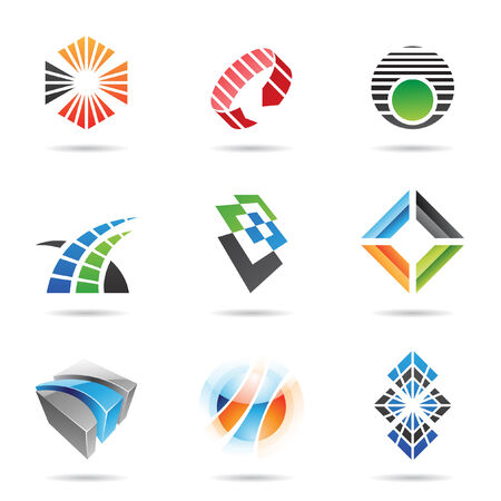 arrow logo: Various colorful abstract icons, set 8