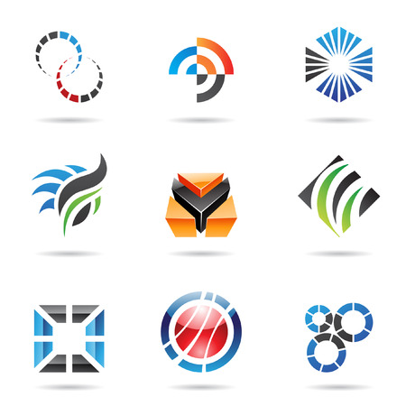 round logo: Various colorful abstract icons, set 9
