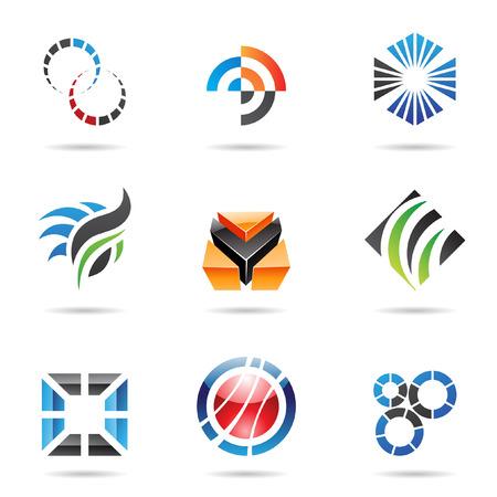 icons logo: Verschiedenen farbige abstrakte Ikonen, legen 9