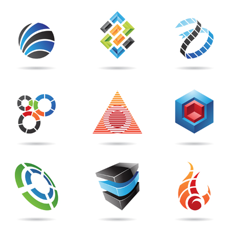 red sphere: Various colorful abstract icons isolated on a white background