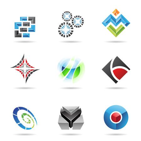icons logo: Verschiedenen farbigen abstrakte Ikonen, die isoliert auf wei�em Hintergrund
