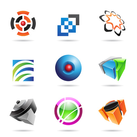 links: Various colorful abstract icons isolated on a white background