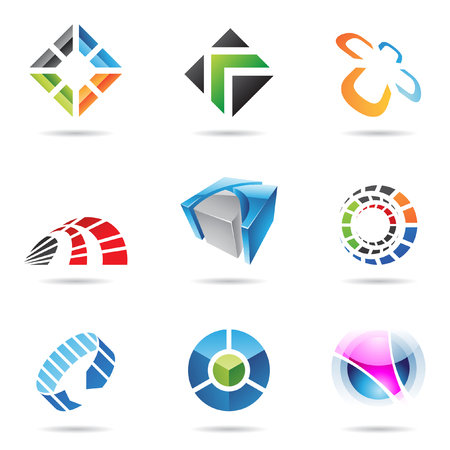square logo: Various colorful abstract icons isolated on a white background