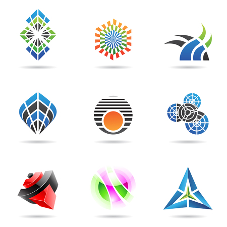 Various colorful abstract icons isolated on a white background Vector