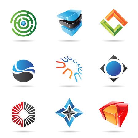 Diverses icônes abstraites colorés isolés sur un fond blanc