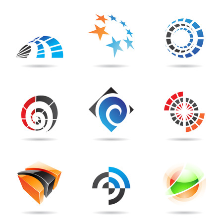 orange swirl: Various colorful abstract icons isolated on a white background
