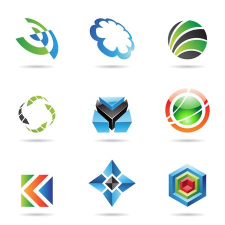 red cube: Varie icone astratte colorate isolate su uno sfondo bianco