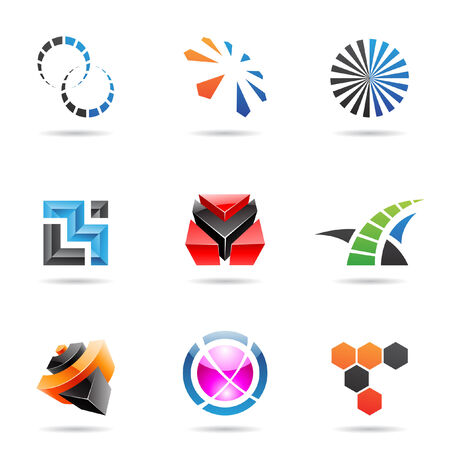 link icon: Various colorful abstract icons isolated on a white background