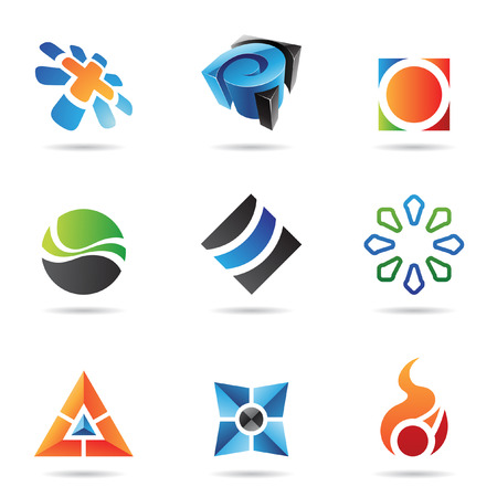 round logo: Various colorful abstract icons isolated on a white background