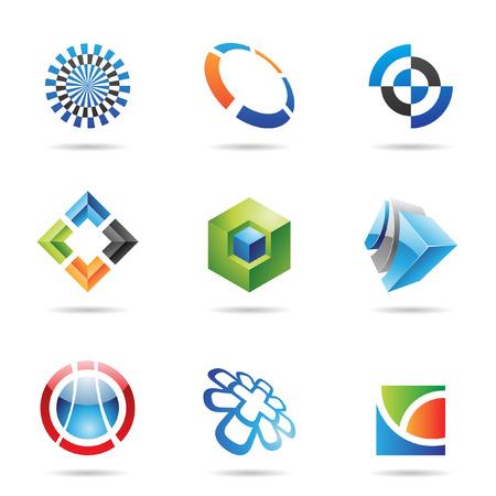 kocka: Különböző színes absztrakt ikonok elszigetelt fehér alapon Illusztráció