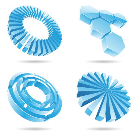 Ice blue abstract 3d icons in perspective template Vector