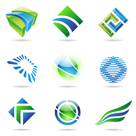 Various green and blue abstract icons isolated on a white background Stock Vector - 7475511
