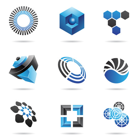 Various blue abstract icons isolated on a white background Vector