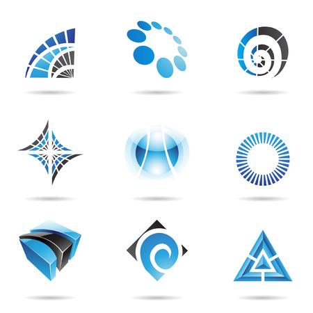 triangulo: Varios azul iconos abstractas aislados en un fondo blanco  Vectores