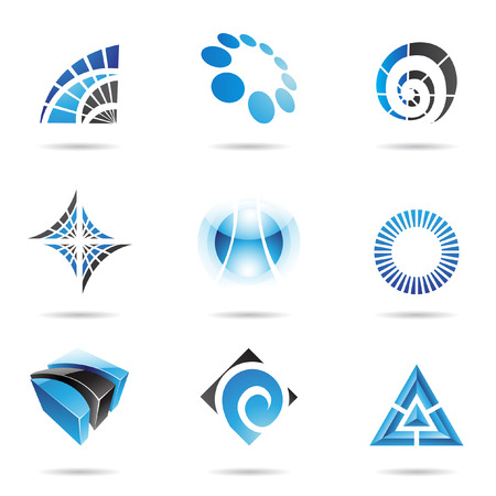 round logo: Various blue abstract icons isolated on a white background