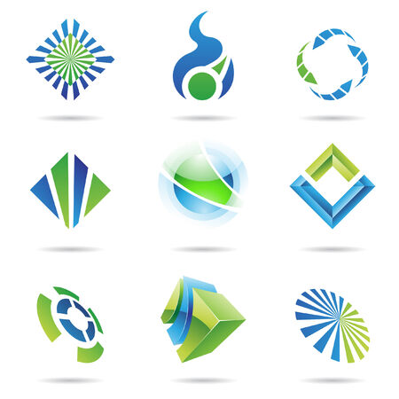 arrow logo: Various blue and green abstract icons isolated on a white background Illustration