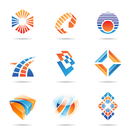 Various orange and blue abstract icons isolated on a white background Vector