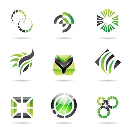 logotipo abstracto: Varios verde iconos abstractas aislados en un fondo blanco