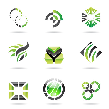 square logo: Various green abstract icons isolated on a white background