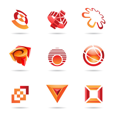 icon 3d: Various red abstract icons isolated on a white background Illustration