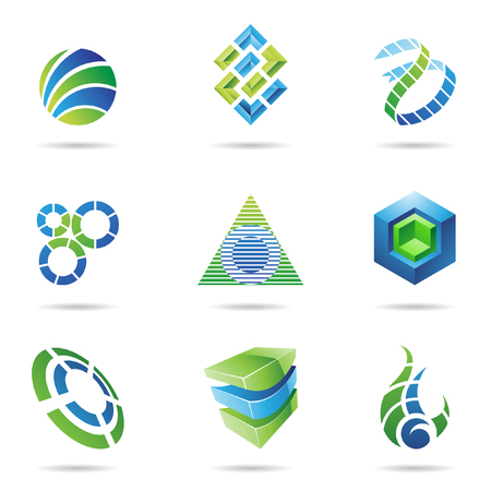 Abstract blue and green icon set isolated on a white background Stock Vector - 7512025