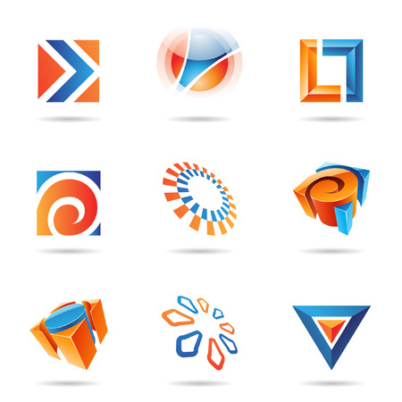 Abstract blue and orange icon set isolated on a white background Stock Vector - 7512035