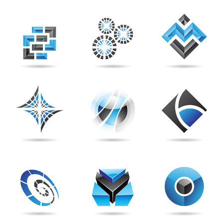blue sphere: Abstract blue and black icon set isolated on a white background Illustration