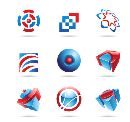 Abstract blue and red icon set isolated on a white background Stock Vector - 7512036