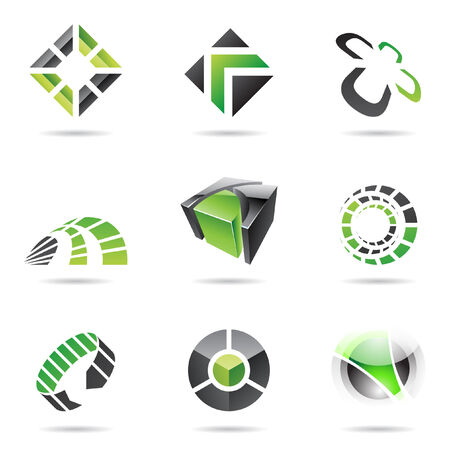 Abstract black and green icon set isolated on a white background Vector
