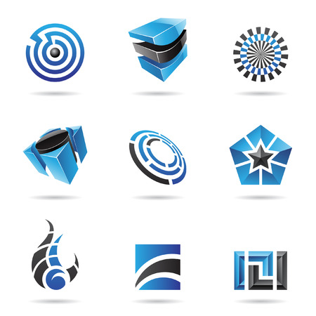 set square: Abstract blue and black icon set isolated on a white background Illustration