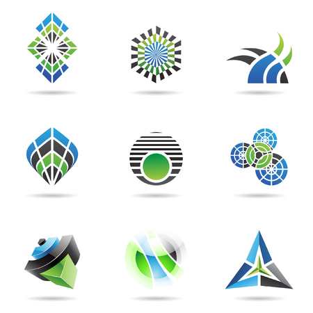 triangle pattern: Abstract blue black and green Icon Set isolated on a white background