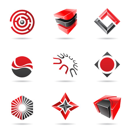 abstract logos: Abstract black and red icon set isolated on a white background