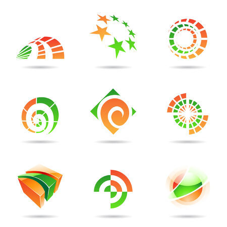 Abstract green and orange Icon Set isolated on a white background Stock Vector - 7512024