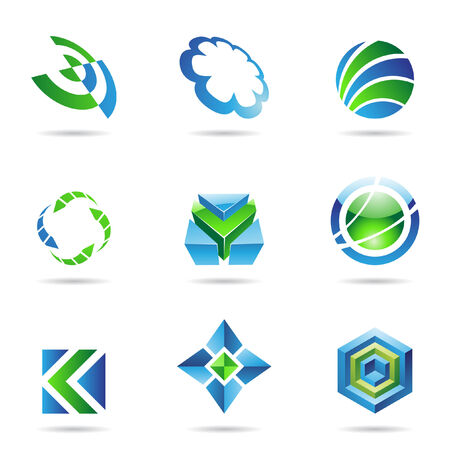 links: Abstract blue and green Icon Set isolated on a white background Illustration