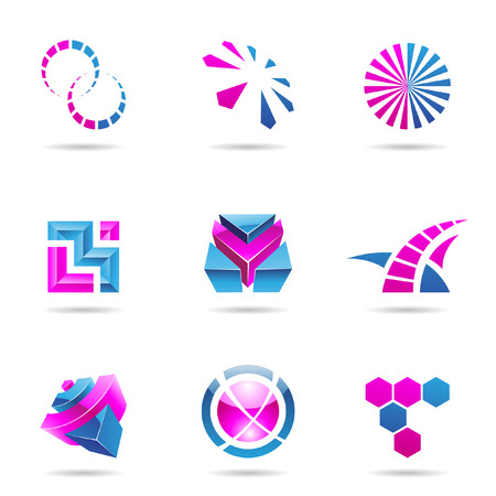 geometrical: Abstract blue and purple Icon Set isolated on a white background