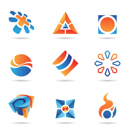 arrow logo: Abstract blue and orange Icon Set isolated on a white background Illustration