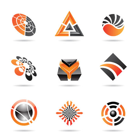 orbit: Abstract black and orange Icon Set isolated on a white background Illustration