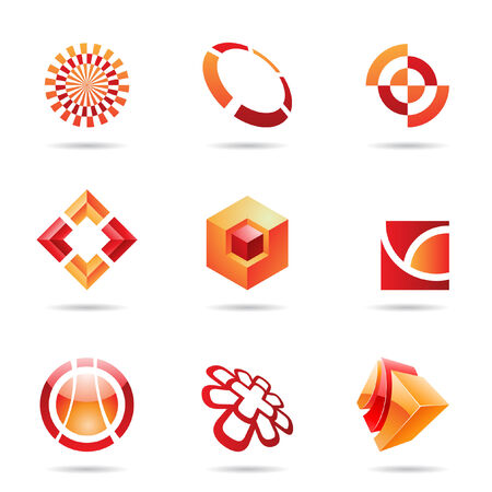 Abstract red and orange Icon Set isolated on a white background Vector