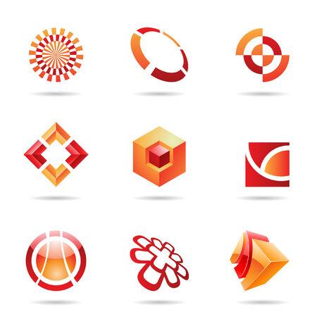 red cube: Astratto rosso e arancione Icon Set isolato su uno sfondo bianco