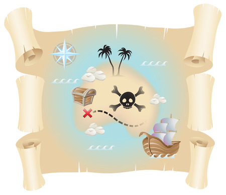 Grunge pirate map isolated on a white background Stock Vector - 7572128