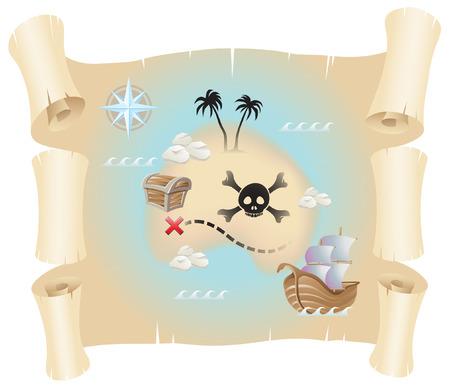 cofre del tesoro: Mapa de pirata de grunge aislado en un fondo blanco  Vectores