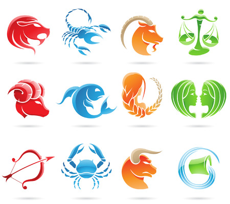 horoscope: Glowing zodiacs isolated on a white background Illustration