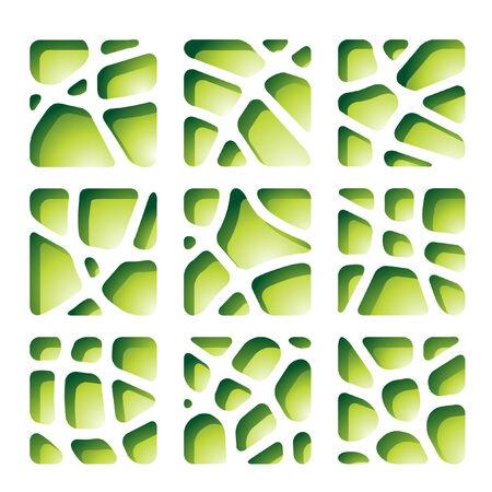 cut paper: Green paper cutouts Illustration