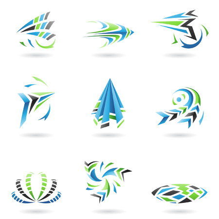 abstract logos: Flying Dynamic Abstract Icons isolated on a white background