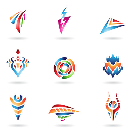 thunder and lightning: Abstract Icons and Lines in Various Colors