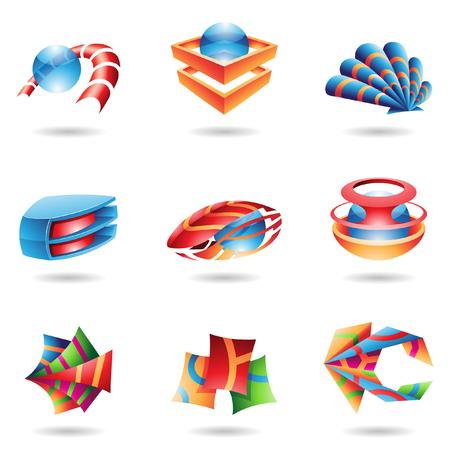 mejillones: Iconos abstractos 3D en varios colores