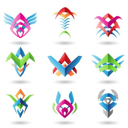 Abstract blade like icons resembling wings, fish and fishbones Vector