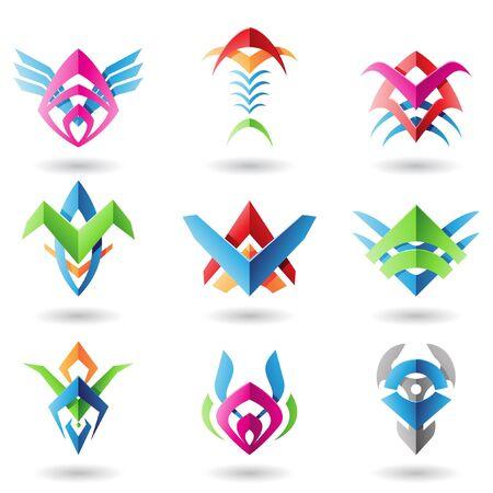 Abstract blade zoals iconen die lijkt op vleugels, vis en graten Vector Illustratie